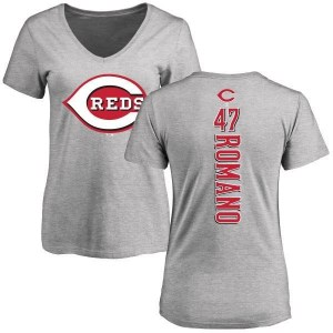 Sal Romano Cincinnati Reds Women's Backer Slim Fit T-Shirt - Ash
