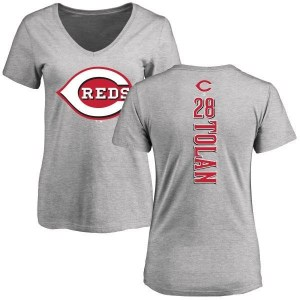 Bobby Tolan Cincinnati Reds Women's Backer Slim Fit T-Shirt - Ash