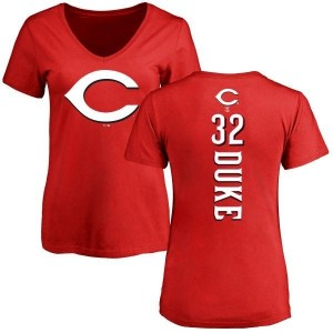 Zach Duke Cincinnati Reds Women's Red Backer Slim Fit T-Shirt -