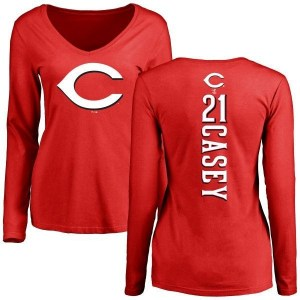 Sean Casey Cincinnati Reds Women's Red Backer Slim Fit Long Sleeve T-Shirt -