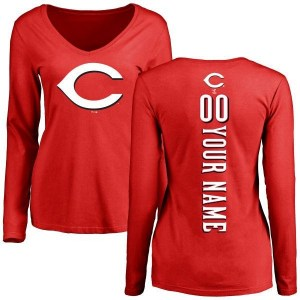 Custom Cincinnati Reds Women's Red Backer Slim Fit Long Sleeve T-Shirt -