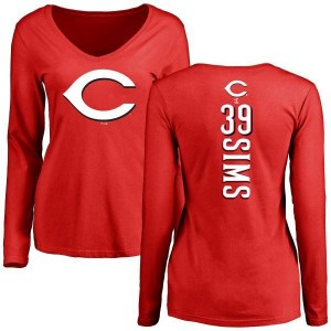 Lucas Sims Cincinnati Reds Women's Red Backer Slim Fit Long Sleeve T-Shirt -