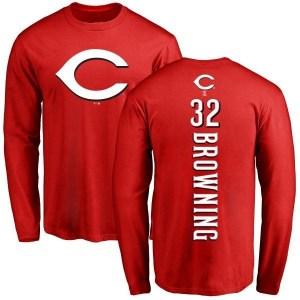 Tom Browning Cincinnati Reds Men's Red Backer Long Sleeve T-Shirt -