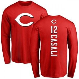 Curt Casali Cincinnati Reds Men's Red Backer Long Sleeve T-Shirt -