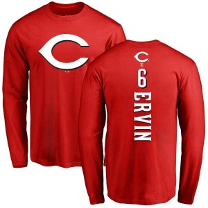 Phillip Ervin Cincinnati Reds Youth Red Backer Long Sleeve T-Shirt -