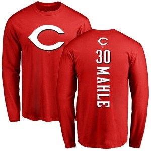 Tyler Mahle Cincinnati Reds Men's Red Backer Long Sleeve T-Shirt -