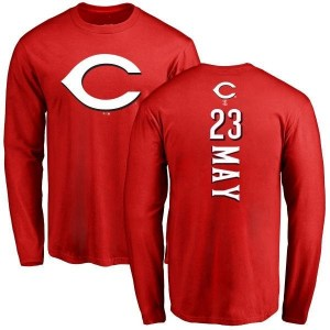 Lee May Cincinnati Reds Men's Red Backer Long Sleeve T-Shirt -