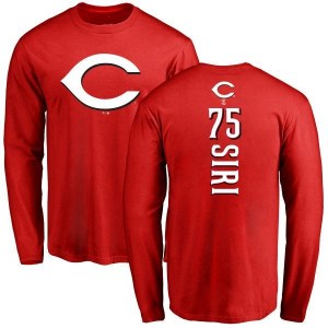 Jose Siri Cincinnati Reds Men's Red Backer Long Sleeve T-Shirt -
