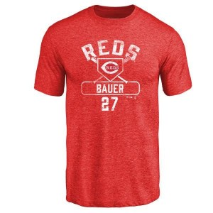 Trevor Bauer Cincinnati Reds Men's Red Base Runner Tri-Blend T-Shirt -