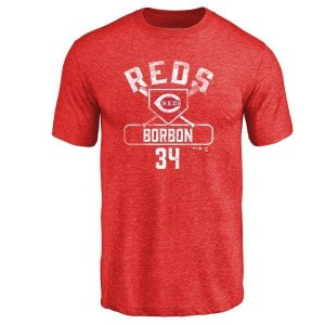 Pedro Borbon Cincinnati Reds Men's Red Branded Base Runner Tri-Blend T-Shirt -