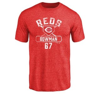 Matt Bowman Cincinnati Reds Men's Red Base Runner Tri-Blend T-Shirt -