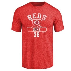Zach Duke Cincinnati Reds Men's Red Base Runner Tri-Blend T-Shirt -