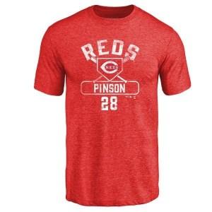 Vada Pinson Cincinnati Reds Men's Red Branded Base Runner Tri-Blend T-Shirt -
