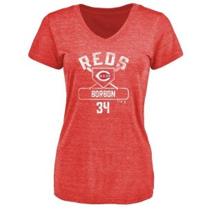 Pedro Borbon Cincinnati Reds Women's Red Branded Base Runner Tri-Blend T-Shirt -