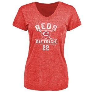 Derek Dietrich Cincinnati Reds Women's Red Base Runner Tri-Blend T-Shirt -