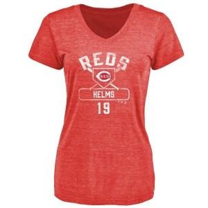 Tommy Helms Cincinnati Reds Women's Red Branded Base Runner Tri-Blend T-Shirt -