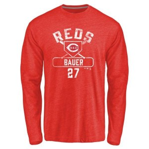 Trevor Bauer Cincinnati Reds Men's Red Base Runner Tri-Blend Long Sleeve T-Shirt -