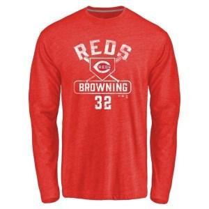 Tom Browning Cincinnati Reds Men's Red Branded Base Runner Tri-Blend Long Sleeve T-Shirt -