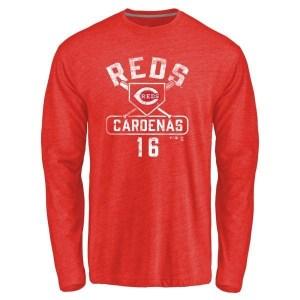 Leo Cardenas Cincinnati Reds Youth Red Branded Base Runner Tri-Blend Long Sleeve T-Shirt -
