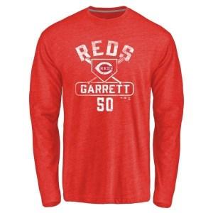 Amir Garrett Cincinnati Reds Men's Red Base Runner Tri-Blend Long Sleeve T-Shirt -