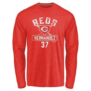 David Hernandez Cincinnati Reds Men's Red Base Runner Tri-Blend Long Sleeve T-Shirt -