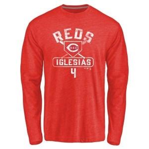 Jose Iglesias Cincinnati Reds Men's Red Base Runner Tri-Blend Long Sleeve T-Shirt -