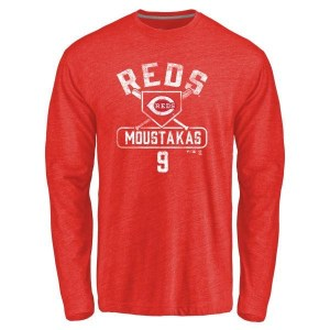 Mike Moustakas Cincinnati Reds Men's Red Base Runner Tri-Blend Long Sleeve T-Shirt -