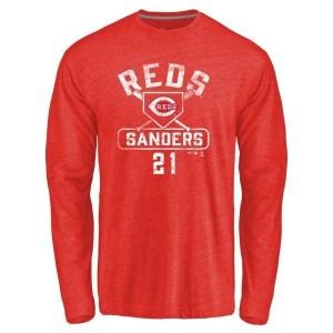 Deion Sanders Cincinnati Reds Youth Red Branded Base Runner Tri-Blend Long Sleeve T-Shirt -