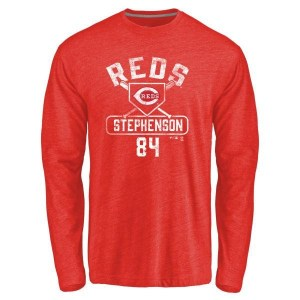 Tyler Stephenson Cincinnati Reds Men's Red Base Runner Tri-Blend Long Sleeve T-Shirt -