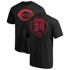 Pedro Borbon Cincinnati Reds Men's Black RBI T-Shirt -