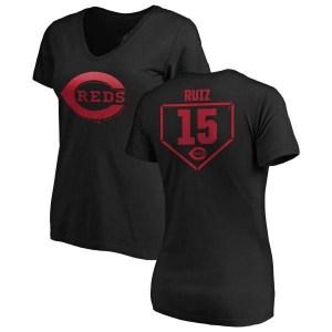 Chico Ruiz Cincinnati Reds Women's Black RBI Slim Fit V-Neck T-Shirt -