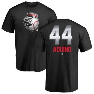 Aristides Aquino Cincinnati Reds Men's Black Midnight Mascot T-Shirt -