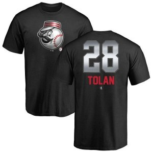 Bobby Tolan Cincinnati Reds Men's Black Midnight Mascot T-Shirt -