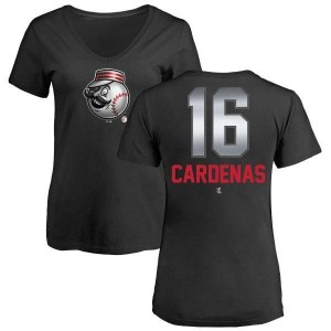 Leo Cardenas Cincinnati Reds Women's Black Midnight Mascot V-Neck T-Shirt -