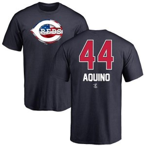 Aristides Aquino Cincinnati Reds Men's Navy Name and Number Banner Wave T-Shirt -