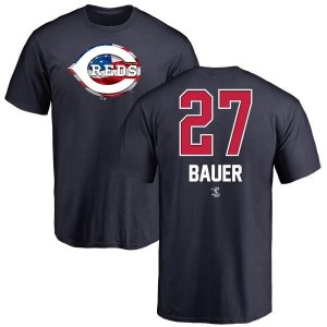 Trevor Bauer Cincinnati Reds Men's Navy Name and Number Banner Wave T-Shirt -