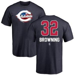 Tom Browning Cincinnati Reds Men's Brown Name and Number Banner Wave T-Shirt - Navy