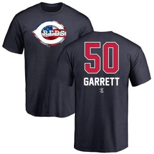 Amir Garrett Cincinnati Reds Men's Navy Name and Number Banner Wave T-Shirt -