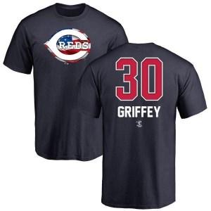 Ken Griffey Cincinnati Reds Men's Navy Name and Number Banner Wave T-Shirt -