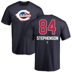 Tyler Stephenson Cincinnati Reds Men's Navy Name and Number Banner Wave T-Shirt -