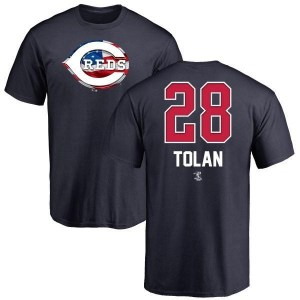Bobby Tolan Cincinnati Reds Men's Navy Name and Number Banner Wave T-Shirt -
