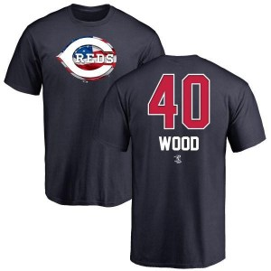 Alex Wood Cincinnati Reds Men's Navy Name and Number Banner Wave T-Shirt -