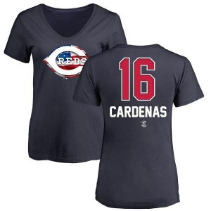 Leo Cardenas Cincinnati Reds Women's Navy Name and Number Banner Wave V-Neck T-Shirt -
