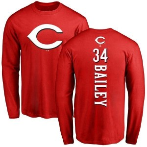 Homer Bailey Cincinnati Reds Men's Red Backer Long Sleeve T-Shirt -