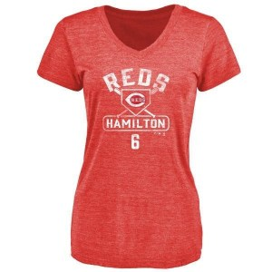 Billy Hamilton Cincinnati Reds Women's Red Branded Base Runner Tri-Blend T-Shirt -