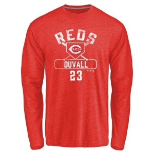 Adam Duvall Cincinnati Reds Men's Red Branded Base Runner Tri-Blend Long Sleeve T-Shirt -