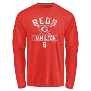 Billy Hamilton Cincinnati Reds Men's Red Branded Base Runner Tri-Blend Long Sleeve T-Shirt -