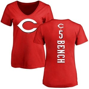 Johnny Bench Cincinnati Reds Women's Red Backer Slim Fit T-Shirt -