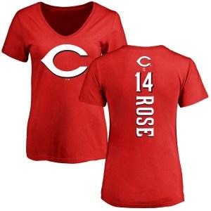 Pete Rose Cincinnati Reds Women's Red Backer Slim Fit T-Shirt -