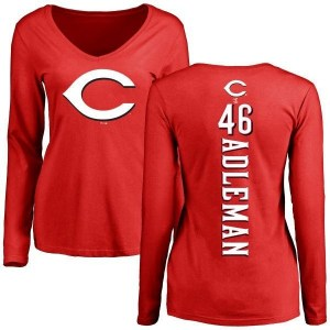 Tim Adleman Cincinnati Reds Women's Red Backer Slim Fit Long Sleeve T-Shirt -